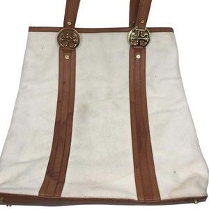 TORY BURCH White/Tan Shoulder Bag